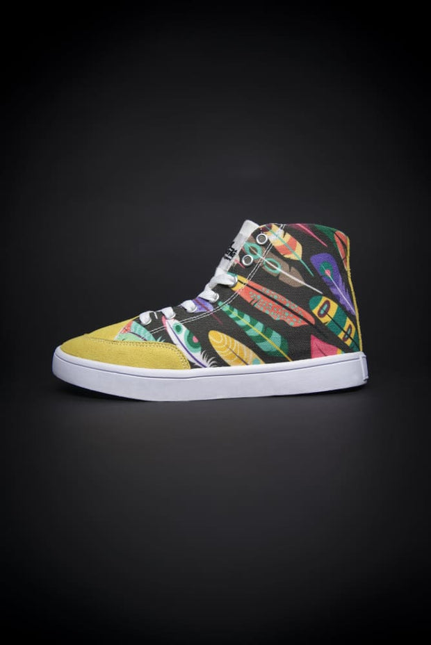 Colorful Feathers Print Canvas Hi-Top Ladies Sneakers - Devious Elements Apparel