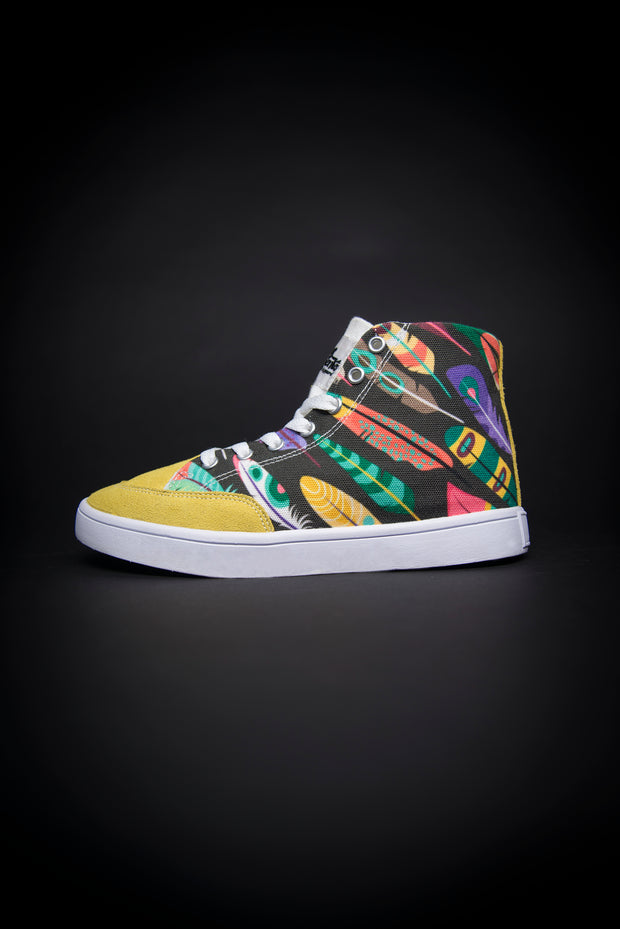 Colorful Feathers Print Canvas Hi-Top Men's Sneakers