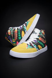 Colorful Feathers Print Canvas Hi-Top Ladies Sneakers