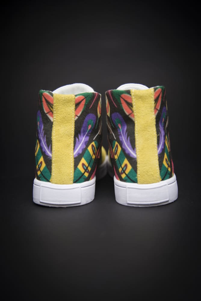 Colorful Feathers Print Canvas Hi-Top Men's Sneakers - Devious Elements Apparel