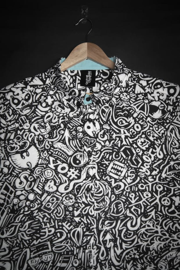 Devious Doodle Unisex Short Sleeve Button Down Shirt - Devious Elements Apparel