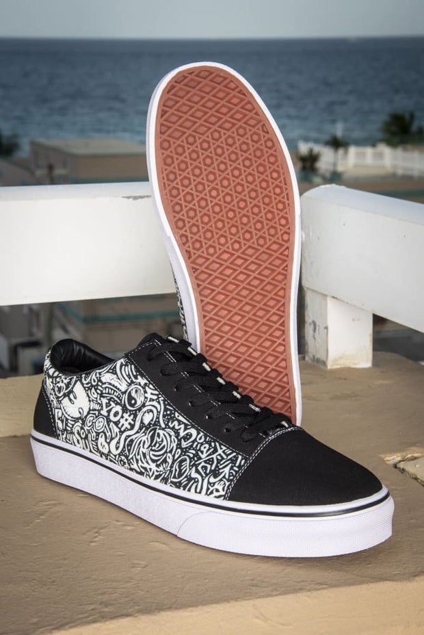 Devious Doodle Print Ladies Low Top Skate Sneaker Devious Elements Apparel shoes Devious Doodle Print Ladies Low Top Skate Sneaker Devious Doodle Print Ladies Low Top Skate Sneaker - Devious Elements Apparel