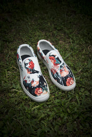 Tupac Biggie Floral Print Canvas Men's Slip On Low-Top - Devious Elements Apparel
