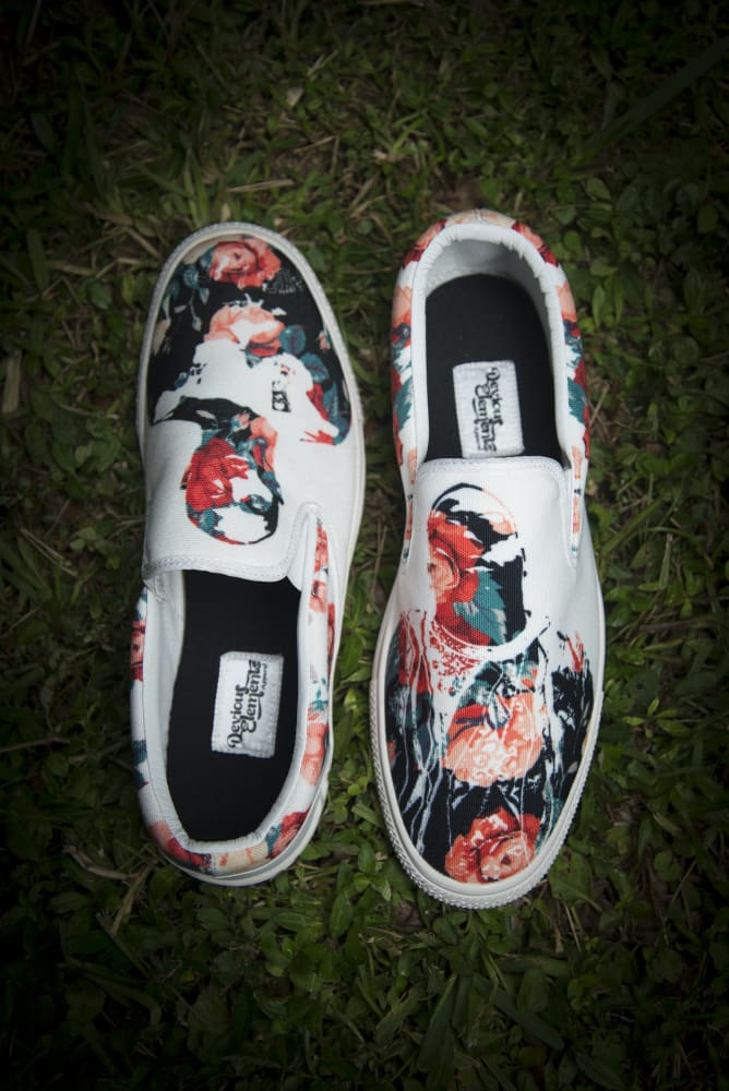 Tupac Biggie Floral Print Canvas Ladies Slip On Low-Top - Devious Elements Apparel