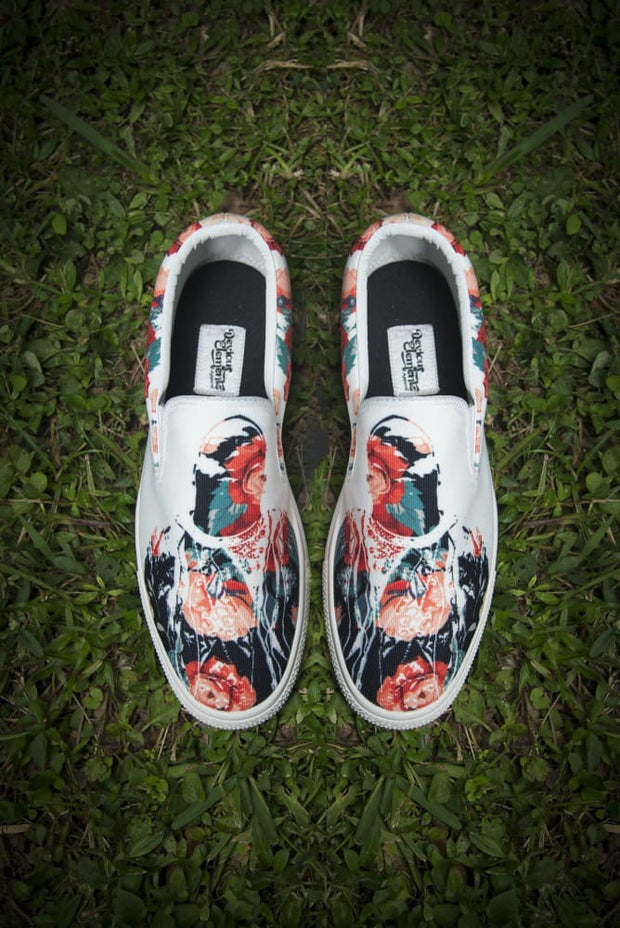 Biggie Floral Print Canvas Men's Slip On Low-Top - Devious Elements Apparel