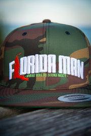 Florida Man (Where Will He Strike Next?) Camo Snapback Hat Devious Elements Apparel hat Florida Man (Where Will He Strike Next?) Camo Snapback Hat Florida Man (Where Will He Strike Next?) Camo Snapback Hat - Devious Elements Apparel