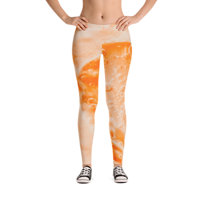 Fizzy Orange Bubbles Print Leggings - Devious Elements Apparel