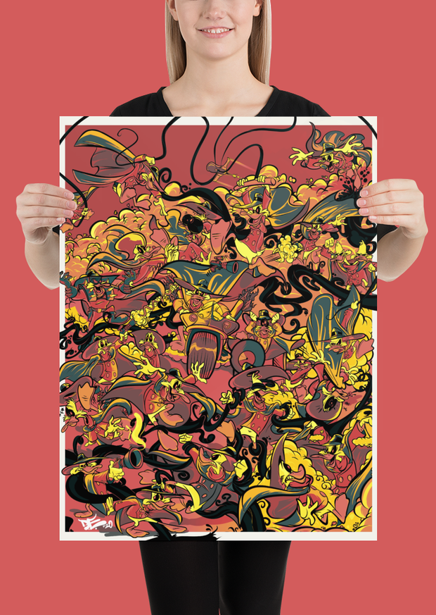 Retro Duck Battle Red Fire Poster Print Devious Elements Apparel Poster Print Retro Duck Battle Red Fire Poster Print Retro Duck Battle Red Fire Poster Print - Devious Elements Apparel