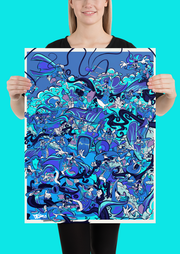 Retro Duck Battle Blue Freeze Poster Print Devious Elements Apparel Poster Print Retro Duck Battle Blue Freeze Poster Print Retro Duck Battle Blue Freeze Poster Print - Devious Elements Apparel