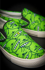 Goop Heads Solid Pattern Men's Canvas Slip On Sneaker - Devious Elements Apparel