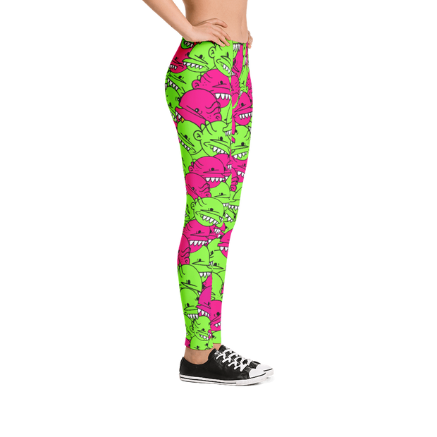 Goop Heads Berries Pattern Print Leggings - Devious Elements Apparel