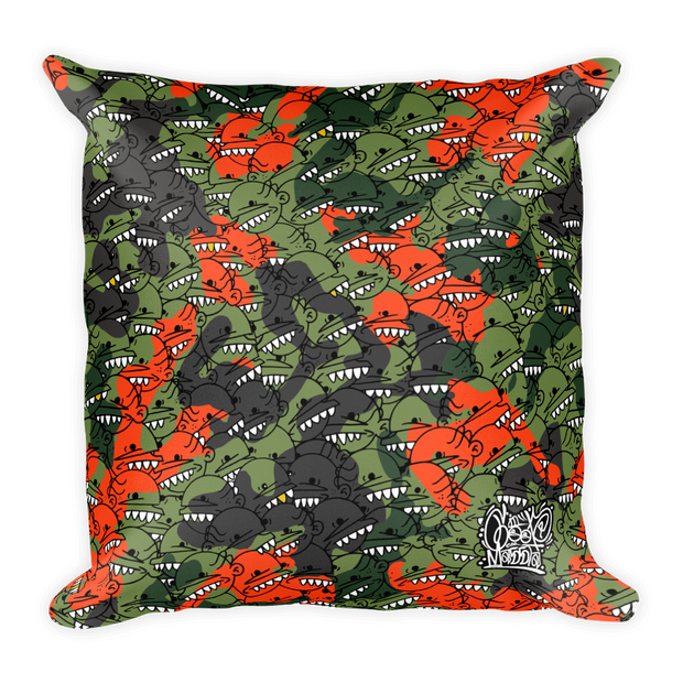 Goop Heads Camo Pattern Print Square Pillow - Devious Elements Apparel