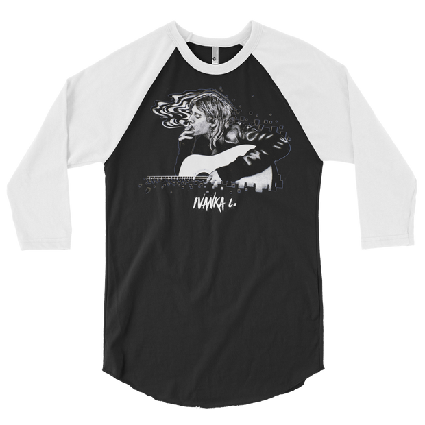 Kurt Cobain Smoking 3/4 Sleeve Crew T-shirt IVANKA C 3/4 Sleeve Raglan Kurt Cobain Smoking 3/4 Sleeve Crew T-shirt Kurt Cobain Smoking 3/4 Sleeve Crew T-shirt - Devious Elements Apparel