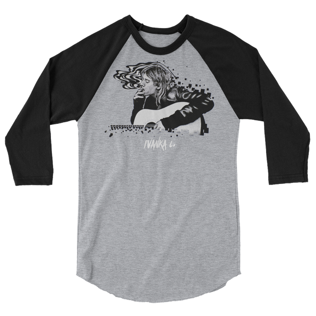 Kurt Cobain Smoking 3/4 Sleeve Crew T-shirt - Devious Elements Apparel
