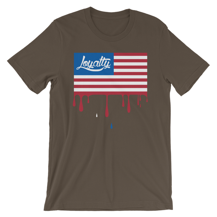 Loyalty American Flag Drip Crew T-shirt - Devious Elements Apparel