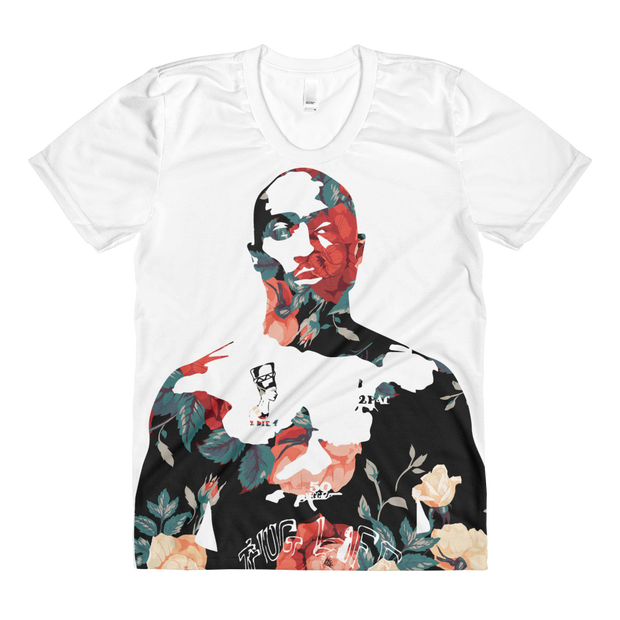 Tupac Floral Roses All Over Print Ladies T-shirt - Devious Elements Apparel