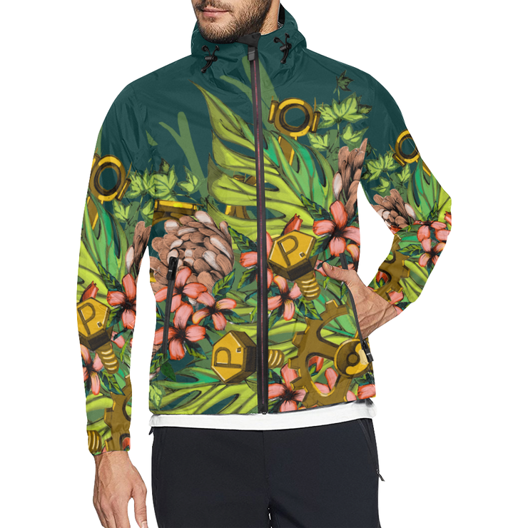 Mech Florale Burst Windbreaker Zipper Hoodie Pixel Pancho Windbreaker Hoodie Mech Florale Burst Windbreaker Zipper Hoodie Mech Florale Burst Windbreaker Zipper Hoodie - Devious Elements Apparel