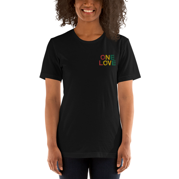 One Love Rasta Embroidery Chest Unisex Crew T-Shirt - Devious Elements Apparel