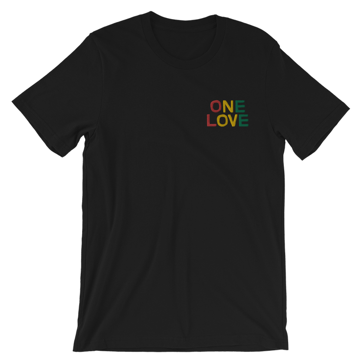 One Love Tri Color Embroidery Chest Unisex Crew T-Shirt Carlos Solano Shirt One Love Tri Color Embroidery Chest Unisex Crew T-Shirt One Love Tri Color Embroidery Chest Unisex Crew T-Shirt - Devious Elements Apparel