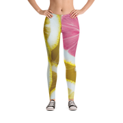 Pink Lemon Slice Print Leggings - Devious Elements Apparel