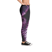Purple Tropical Leaf Print Leggings - Devious Elements Apparel