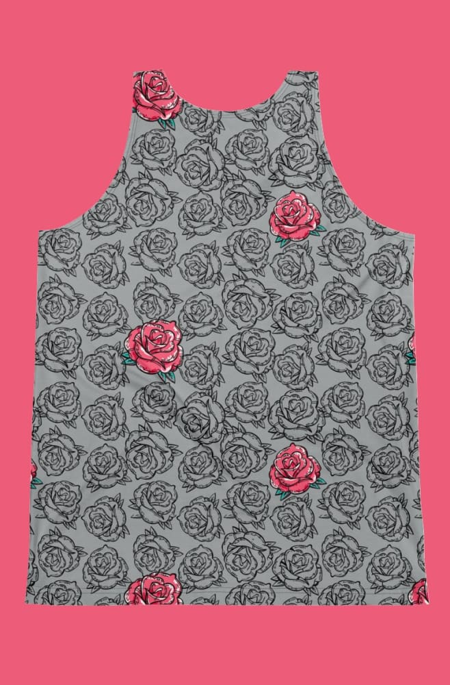 Rose Grey Floral Pattern Print Cut-&-Sew Unisex Tank - Devious Elements Apparel