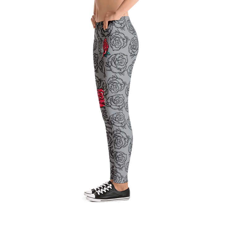 Rose Grey Floral Pattern Print Leggings - Devious Elements Apparel