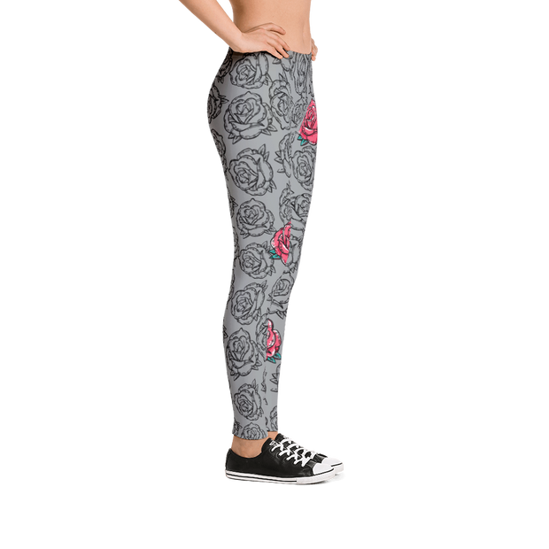 Rose Grey Floral Pattern Print Leggings Carlos Solano Leggings Rose Grey Floral Pattern Print Leggings Rose Grey Floral Pattern Print Leggings - Devious Elements Apparel