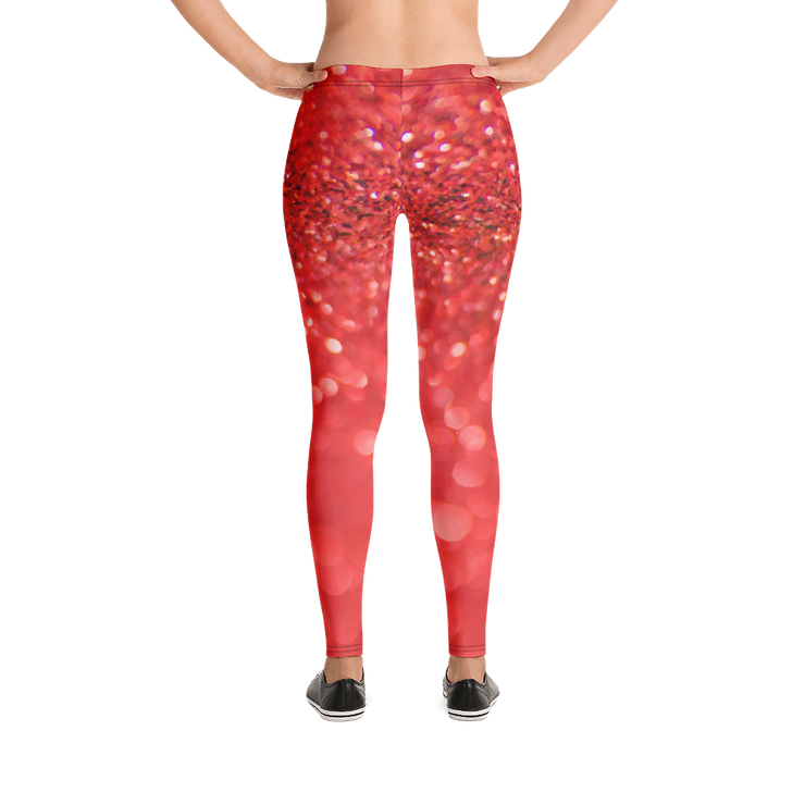 Red Glitter Print Leggings - Devious Elements Apparel