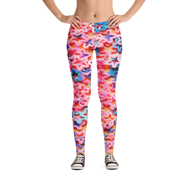 Star Rubber Bands Print Leggings - Devious Elements Apparel