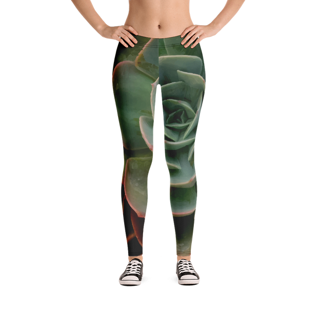 Succulent Print Leggings - Devious Elements Apparel