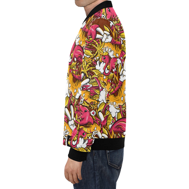 Tropicana Pattern Print Track Bomber Jacket Enox Art Bomber/Windbreaker Jacket Tropicana Pattern Print Track Bomber Jacket Tropicana Pattern Print Track Bomber Jacket - Devious Elements Apparel