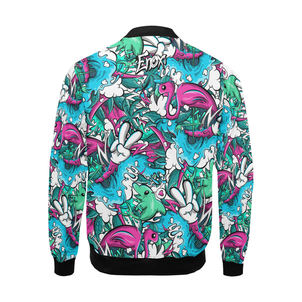 Tropicana Pattern Print Track Windbreaker Jacket