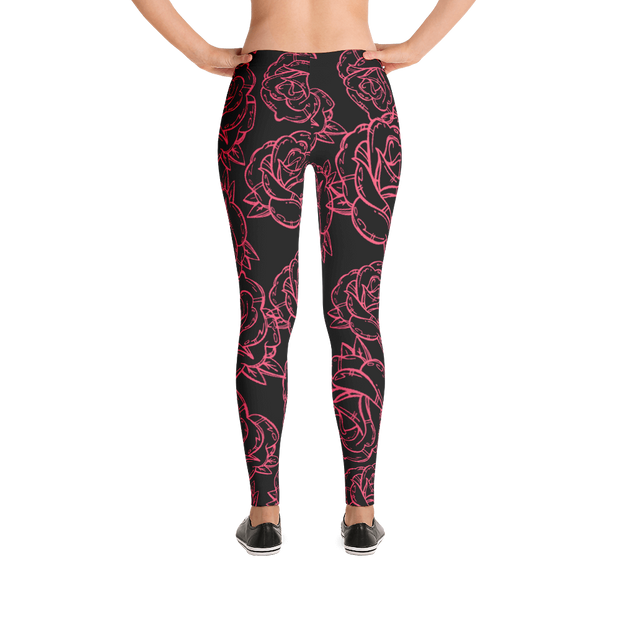 Roses Are Red Floral Pattern Print Leggings Carlos Solano Leggings Roses Are Red Floral Pattern Print Leggings Roses Are Red Floral Pattern Print Leggings - Devious Elements Apparel