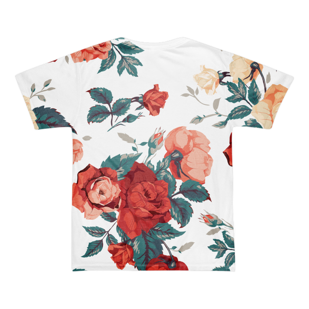 Basquiat Floral Roses All Over Print T-shirt - Devious Elements Apparel
