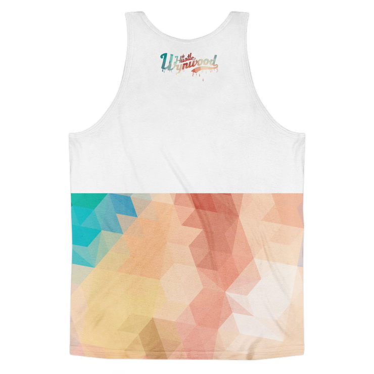 Hustle Wynwood Native Pattern All-Over-Print White Tank - Devious Elements Apparel
