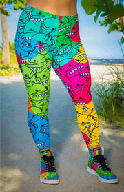 Goop Heads Rainbow Pattern Print Leggings - Devious Elements Apparel