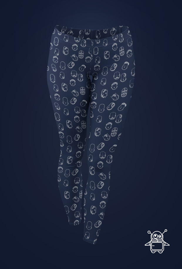 Robot Heads Pattern Print Leggings Pixel Pancho Leggings Robot Heads Pattern Print Leggings Robot Heads Pattern Print Leggings - Devious Elements Apparel
