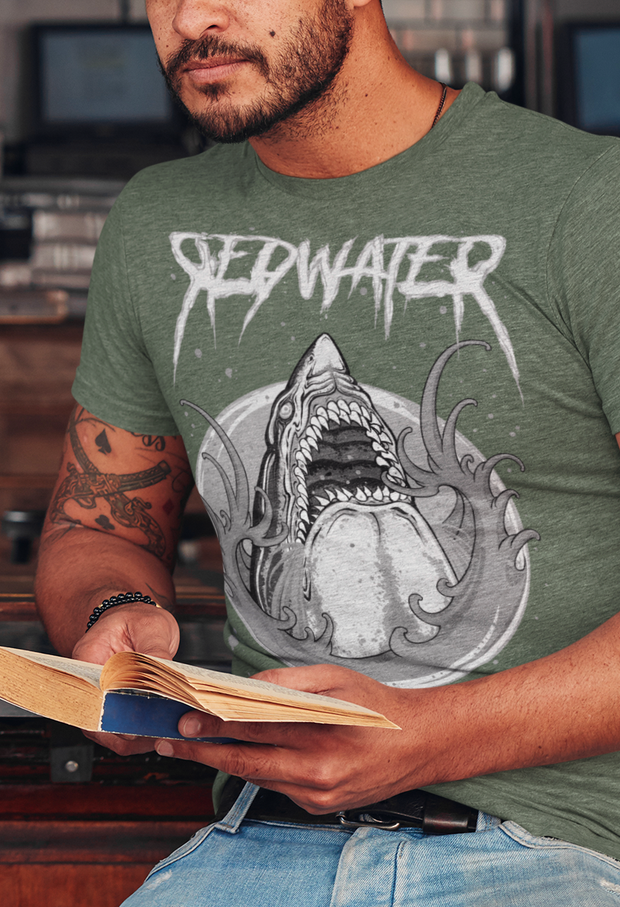 Shark Attack Redwater BnW Unisex Crew T-shirt Derek Garcia Shirt Shark Attack Redwater BnW Unisex Crew T-shirt Shark Attack Redwater BnW Unisex Crew T-shirt - Devious Elements Apparel