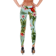 Tropical Floral Pattern Print Leggings - Devious Elements Apparel