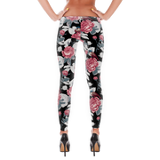 Floral Rose Blue Bird Pattern Black Leggings - Devious Elements Apparel