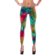 Tropical Floral Water Color Pattern Print Leggings - Devious Elements Apparel