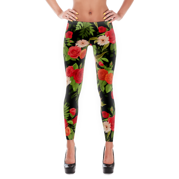 Floral Rose Daisies Pattern Black Leggings - Devious Elements Apparel