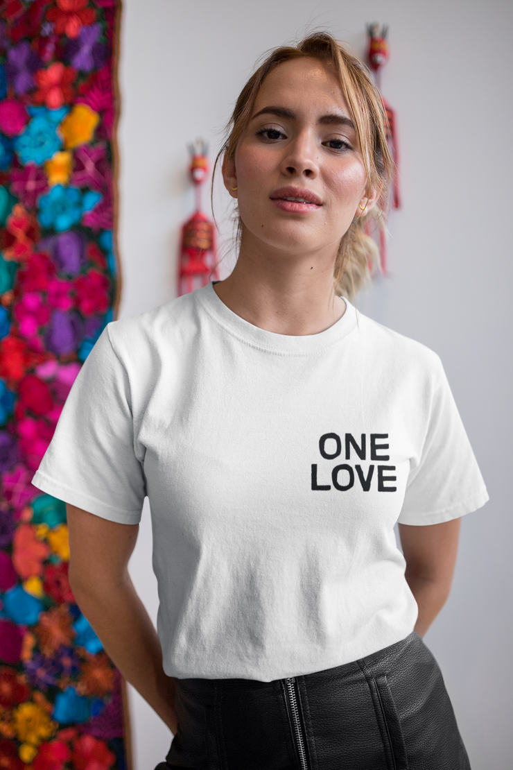 One Love Embroidery Chest Unisex Crew T-Shirt