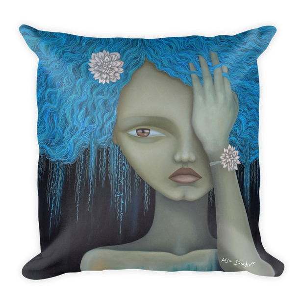 Blue Hair Square Print Pillow - Devious Elements Apparel