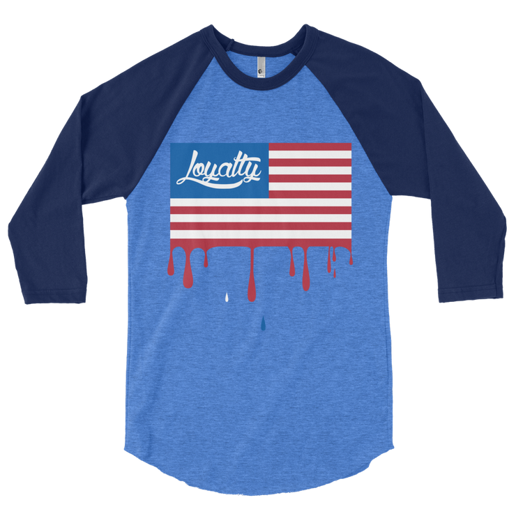 Loyalty Flag Drip 3/4 Sleeve Crew T-shirt - Devious Elements Apparel