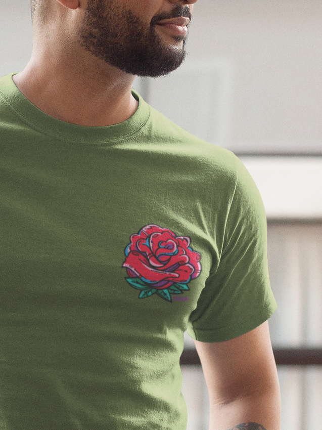 Rose Bud Pocket Unisex Crew T-Shirt - Devious Elements Apparel