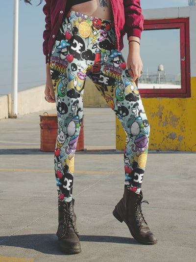 DE Funky Graffiti Pattern Print Leggings - Devious Elements Apparel