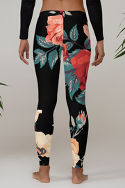 Roses Pattern Print Leggings - Devious Elements Apparel