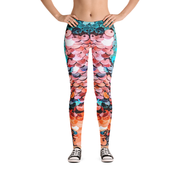 Mermaid Sequences Print Leggings - Devious Elements Apparel